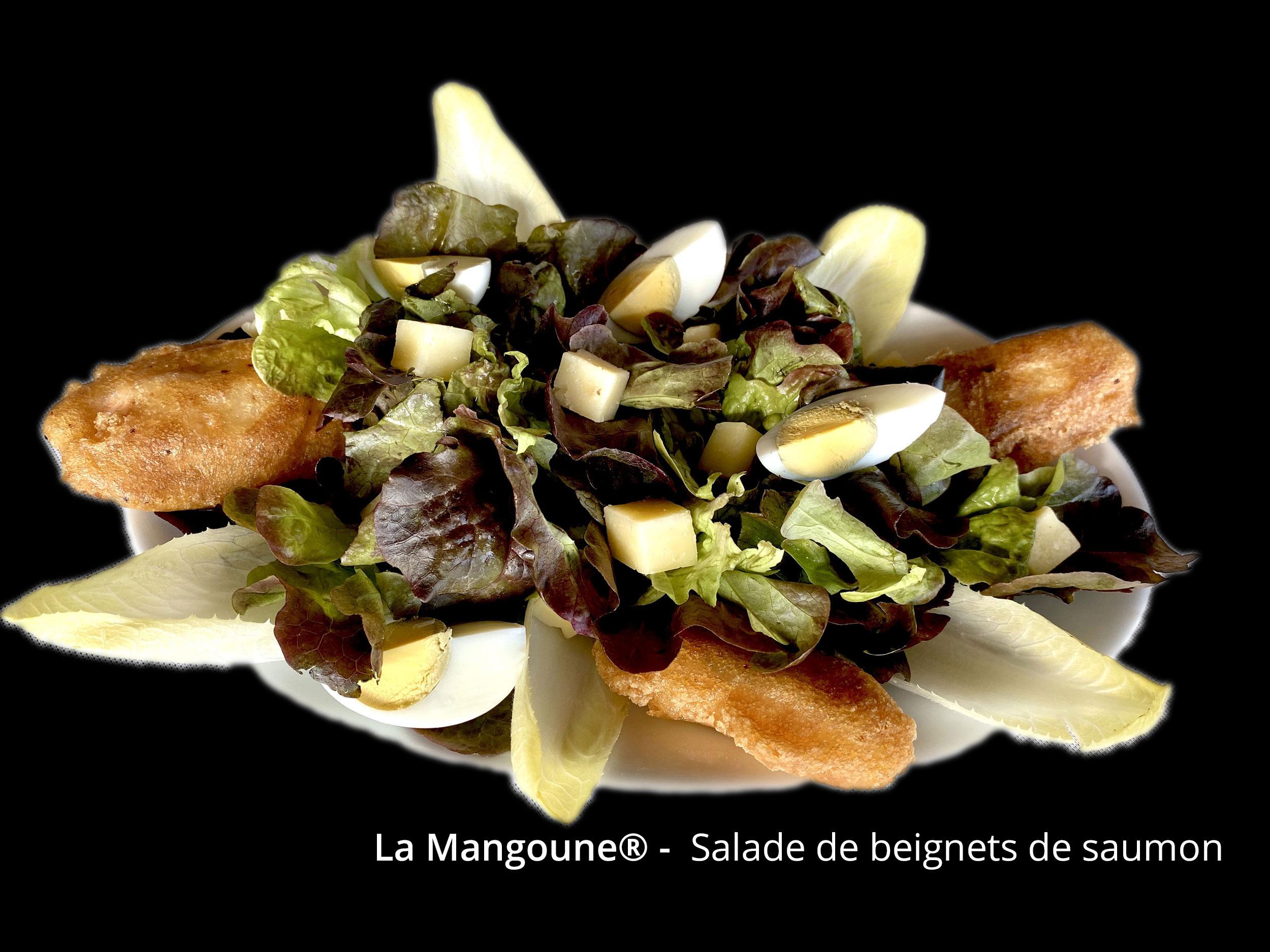 Salade de beignets de saumon