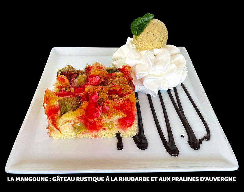 Gâteau rustique à la rhubarbe et aux pralines d'Auvergne
